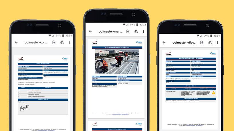 Información a Detalle Roofmaster App