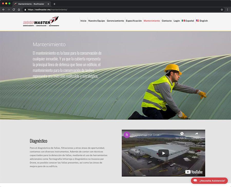 Nuestra Web Roofmaster Vinculada a la App