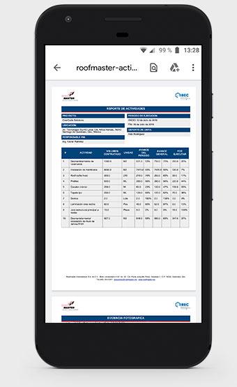 Reporte de Actividades Roofmaster App
